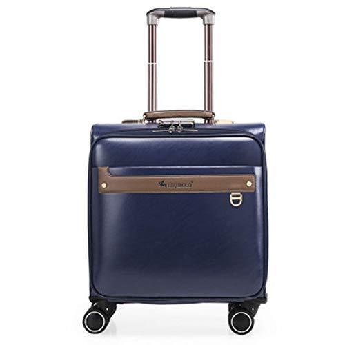 PQG Herren 40,6 cm Trolley Case Universal Wheel Luggage Box Business PU Koffer hochwertige Password Box