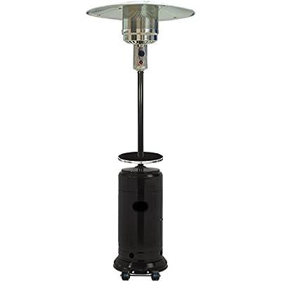 Hanover HAN004BLK 7 ft Modern Steel Umbrella Drink Shelf Propane Patio Heater, 48000 BTU, Black