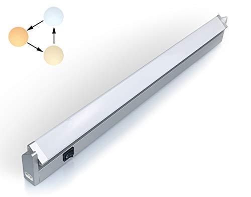 Led Unterbauleuchte Schwenkbar Küchenlampe Unterbau Schrankbeleuchtung mit Schalter Schrauben Dübel Verbindungskabel Warmweiß 3 Farbton Neutralweiß Kaltweiß 560 Lumen 56 cm