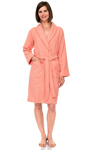 TowelSelections Women's Robe, Turkish Cotton Short Terry Bathrobe Medium Apricot Blush