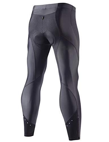 XGC Herren Lange Radlerhose Fahrradhose Radhose Radsportshorts für Männer Elastische Atmungsaktive 4D Schwamm Sitzpolster mit Einer Hohen Dichte (Black, S) - 2