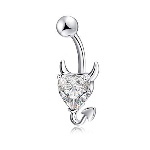 No logo Klsk Navel Bauchn Ring Glitter Love Herz-Dekor-Piercing Schmucksachen Nabel-Nagel TT @ 88 (Farbe : Weiß)