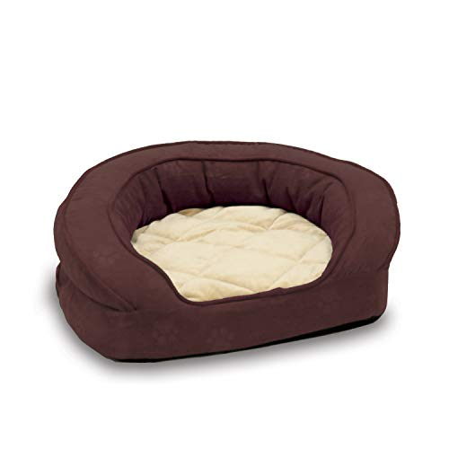 K&H PET PRODUCTS Deluxe Ortho Bolster Sleeper Pet Bed, Eggplant paw Print, Large 40 inches