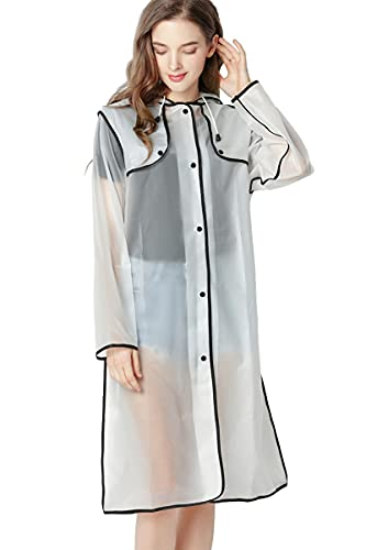Luckism Poncho impermeabile trasparente per escursioni con zaino lungo trasparente, leggero, unisex, per uomo e donna, con tasca con maniche, trasparente-nero, L