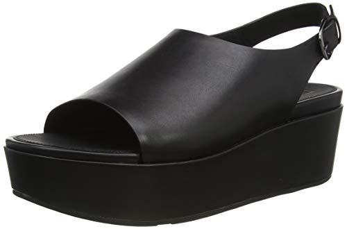 Fitflop Women's Eloise Back-Strap Leather Wedges Plateau Sandalen, Schwarz (All Black 090), 38 EU