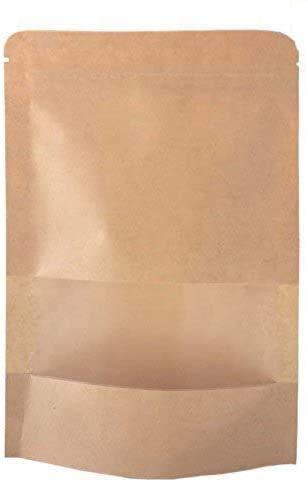 SumDirect 50 Stk Kleine Braune Papier Beutel Mit fenster, Papier Tütchen kraftpapier mit Boden für Verpackung von kaffee,tee lebensmittel und snack mehr (9x14cm)