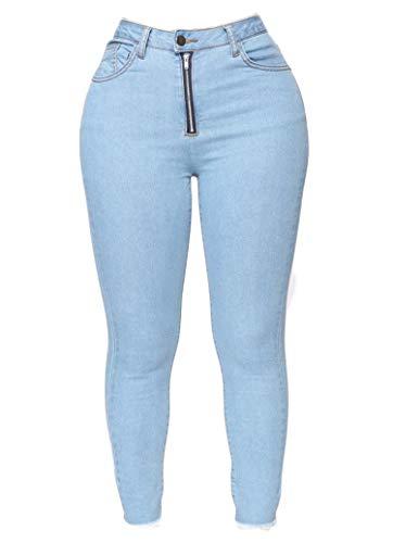 Find Bargain Andongnywell Women's Curvy High Rise Skinny Jeans Leggings Pants (Light Blue,X-Large)