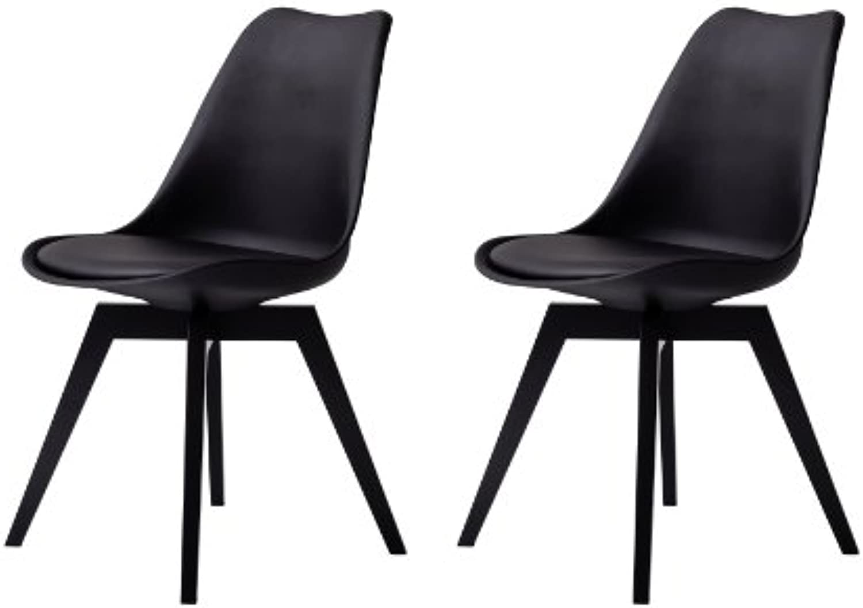 Tenzo 3317-824 Bess 2-er Set Designer Esszimmerstuhl, Kunststoffschale mit Sitzkissen in Lederoptik, Untergestell Birke, lackiert, 82 x 48 x 54 cm (H x B x T), schwarz