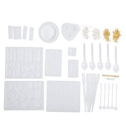 Moldes de resina para joyería Kits de fabricación de joyas de resina de silicona que incluyen colgante, pulsera, collar, botón, moldes de fundición para principiantes