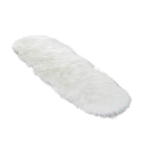 jiumoji Plush Faux Fur Carpets Soft Artificial Sheepskin Area Rug for Living Room Irregular Oval Sofa Bed Kids Bedroom (-A, 60 x 180cm)