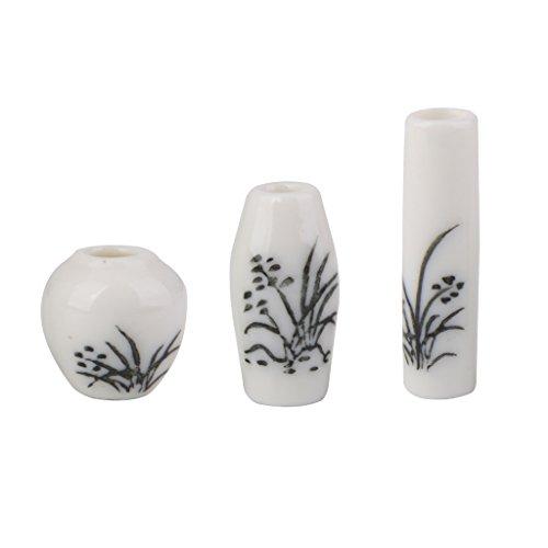 Lot de 3pcs Vase en Céramique Miniature pour 1/12 Maison de Poupée Peint en Noir Floral