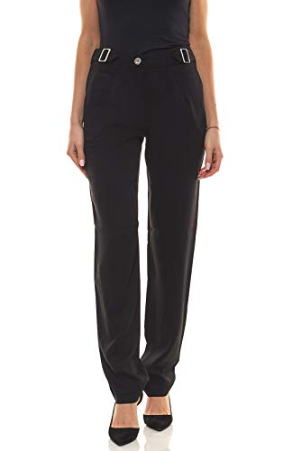 Laura Scott Hose modische Damen Bundfalten-Hose Anzug-Hose Stoff-Hose mit weitem Bein Schwarz, Größe:40