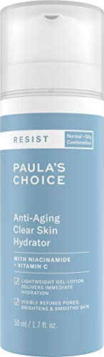 Paula's Choice Resist Anti Aging Clear Skin Moisturiser - Hydrating Lightweight Night Cream - Reduces Breakouts & Fine Lines - with Niacinamide & Vitamin C - Combination to Oily Skin - 50 ml