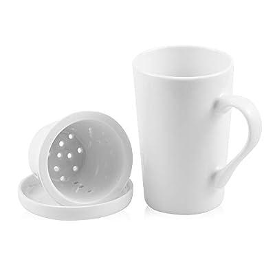 DiiKoo Tea Cups with Ceramic Infuser and Lid,14.2 Oz Ceramic Tea Mug,Tea Strainer Cup with Tea Bag Holder for Loose Tea,Porcelain Tea Steeping Mug White M