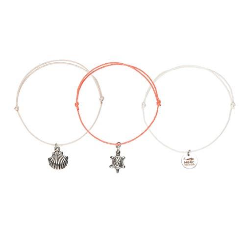MBRC the ocean Lucky Charm Set - 3 Elegante Armbänder für Frauen - Lucky Charm aus Edelstahl - Verschiedene Farben - Hergestellt mit 100% recycelten PET-Flaschen (Living Coral)