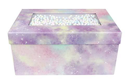 Emartbuy Starrer Luxus Rechteckige Präsentations Geschenkbox, 31 x 21 x 15 cm, Rosa Lila Pastell Box mit Deckel, Schokoladenbraunes Interieur und Mehrfarbige Kugeln Dekoration
