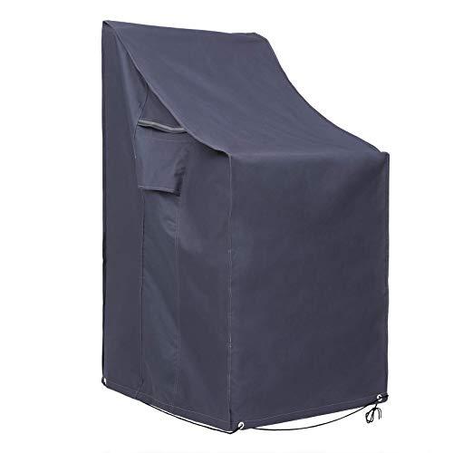 SONGMICS Housse de Chaise d'Extérieur, Tissu Oxford 600D, Housse de Protection de Mobilier d'extérieur, Anti-décoloration, 66 x 66 x 80/120 cm (L x l x H), Gris foncé GFC95G