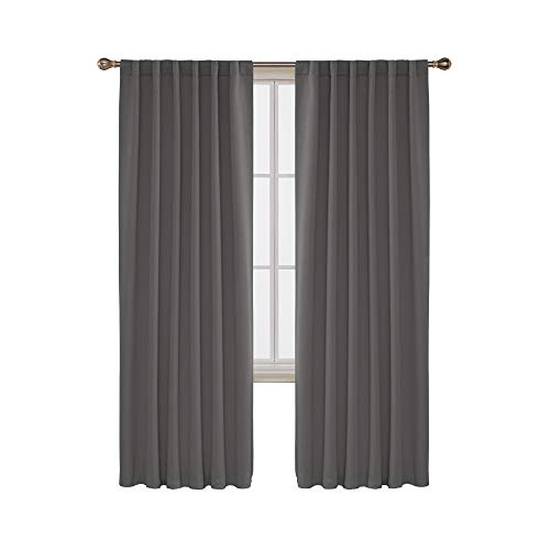 Deconovo Blackout Curtain Panels Window Draperies Rod Pocket/Back Tab Curtains Thermal Insulated Blackout Curtains for Bedroom 52x84 Inch Light Grey 2 Panels