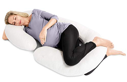 Full Body Maternity Pregnancy Pillow - 60-inch C-Shaped Pillows and Nursing Support Cushion with Washable Cover by Restorology