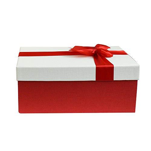 Emartbuy Lusso Rigido Confezione Regalo a Forma di Rettangolo, 28 x 18 x 13 cm Scatola Rossa Con Coperchio Crema, Interni Color Cioccolato e Nastro Decorativo Con Fiocco in Raso