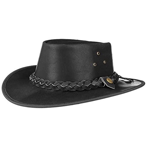 Chapeau en Cuir Hooley chapeau pour homme chapeau australien (L/58-59 - noir)
