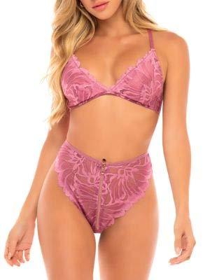 Oh La La Cheri Evette Floral Bra & Panty Set, L/XL, Heather Rose