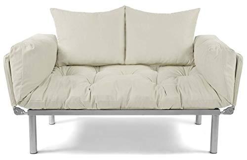 EasySitz Schlafsofa Sofa 2 Sitzer Kleines Couch 2-Sitzer Schlafsessel für Zweisitzer Personen Mein Futon Sitzen EIN Einer Farbauswahl (Creme)