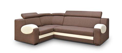 große Ecksofa Sofa Eckcouch Couch mit Schlaffunktion und Bettkasten Ottomane L-Form Schlafsofa Bettsofa Polstergarnitur - PARIS (Ecksofa Links, Braun)