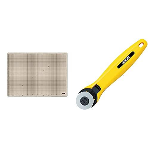 OLFA Cutter Mat A2 17.7 x 24.4 x 0.08 inches (450 x 620 x 2 mm), 159B & Rotary Cutter 28 233B [Purchase Set]