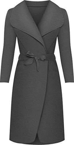 WearAll - Lange Gürtel Taschen öffnen Coat Damen Promi Wasserfall Jacke Cape - Dunkelgrau - Eine Größe