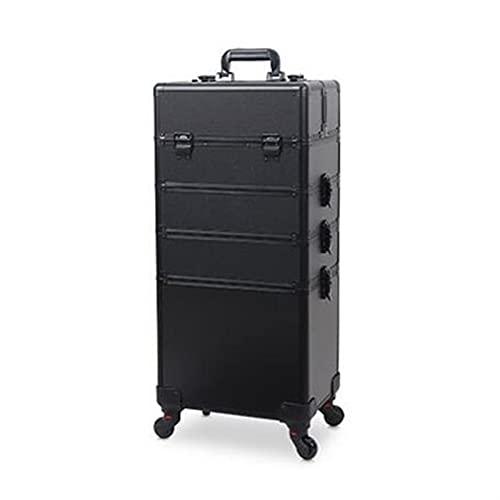 KUYUC 4 in 1 Valigia per Cosmetici, Professionale Valigia da Trucco, Grandi Nail Art Beauty Case, Alluminio Parrucchiere Make up Case per Travel Stoccaggio (Color : Black)