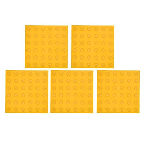 Duokon 5 uds, Suelo Antideslizante de Goma, Advertencia, pavimento táctil, baldosas de acera ciegas, Placas de Base de Carretera, diseño Engrosado(Amarillo 33 * 33 * 8)