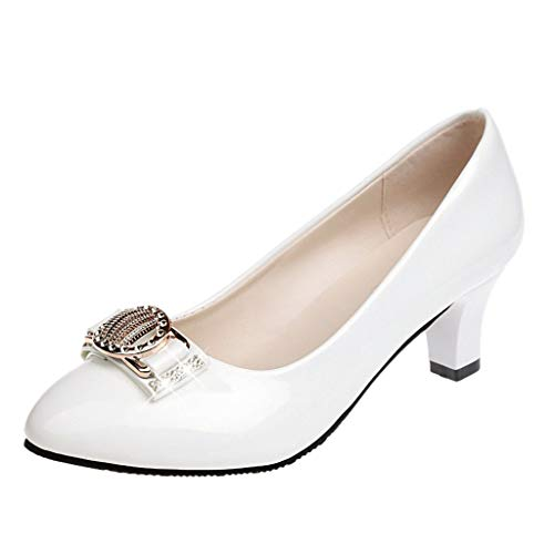 Damen Klassische Pumps in Lackoptik Basic Absatzschuhe Mittelhohe Elegante Schuhe Bequem Frühling Sommer Sandalen Celucke (Weiß, EU40)
