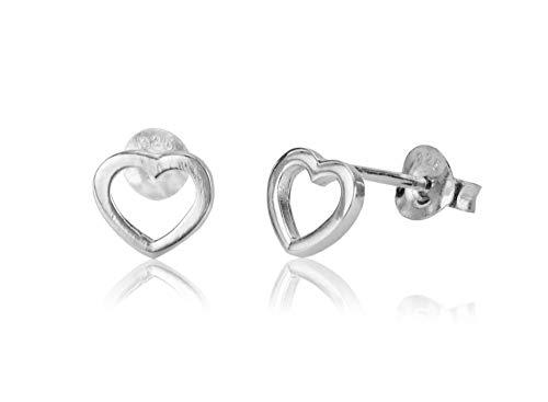 925 Sterling Silver Tiny Dainty Hollow Heart Studs from Lotus Flower Trading Co. fine earrings for girls ladies unisex earrings jewellery women boho stud women funky emo pretty sets