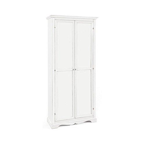 Armadio stipo, stile classico, in legno massello e mdf con rifinitura in bianco lucido - Mis. 87 x 40 x 192