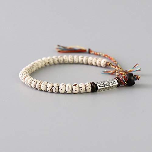 yqs Pulsera tibetana budista trenzada hilo de algodón Lucky Knots pulsera natural Bodhi perlas talladas amuleto hecho a mano pulsera para hombres