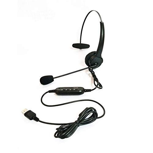 DDyna Auriculares USB, Auriculares USB con micrófono, Auriculares giratorios Ajustables con cancelación de Ruido, Auriculares para Centro de Llamadas, Auriculares para computadora portátil (Negro)