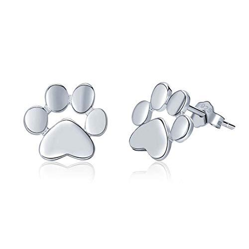 Pendientes de tuerca con diseño de huella de perro y gato para mujeres, adolescentes, plata de ley 925, pendientes de huellas de animales