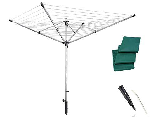 Leifheit Séchoir parapluie LinoLift 600 QuickStart, étendoir à linge 60 m, séchoir à linge avec housse de protection, hauteur ajustable de 85 à 180 cm