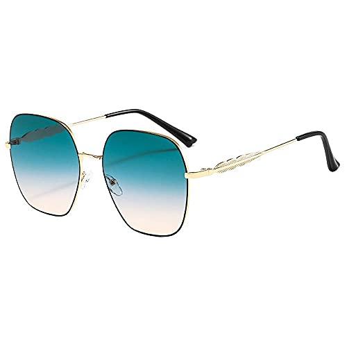 Gafas de sol de metal de alta calidad para mujer 2021 moda cuadrado marco gradiente lente Tour Street Beat hombres UV gafas de sol, a,