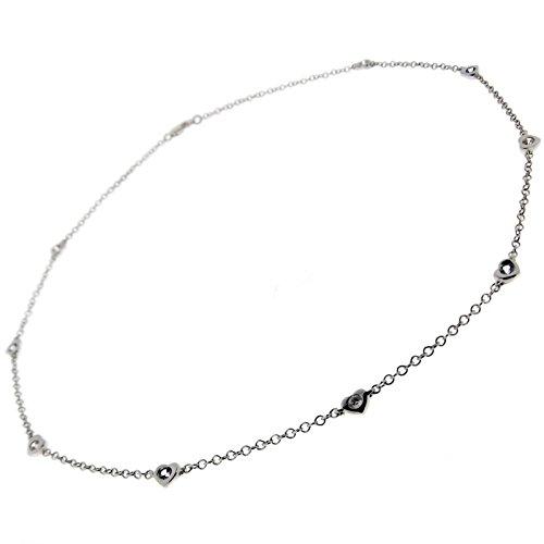 Collana girocollo da donna con cuori in oro bianco 18 kt. (750‰) con topazio azzurro e zirconi bianchi