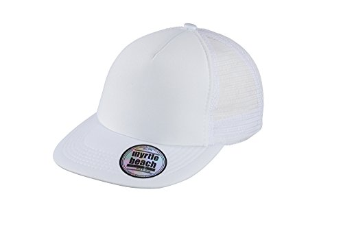 MYRTLE BEACH 5 Panel Flat Peak Cap in white Taille: Taille unique