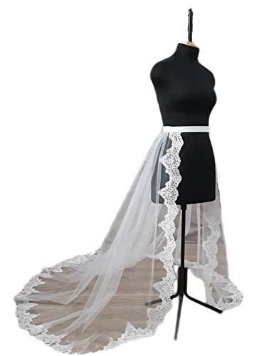 Simlehouse Elastic Waistband 1 Layer Lace Edge Tulle Detachable Skirts White Wedding Bridal Train 2019