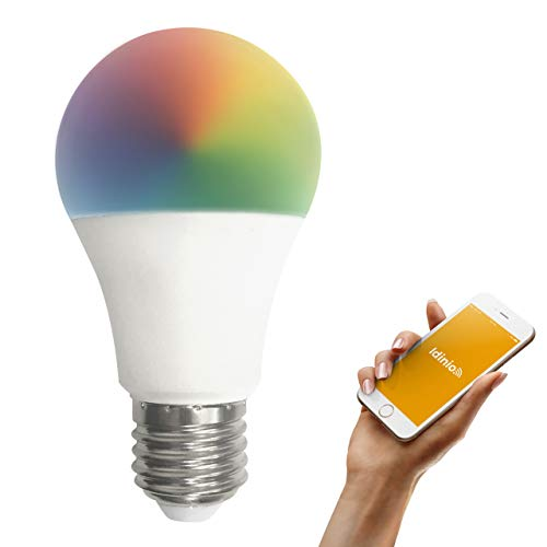idinio Bombilla LED inteligente WiFi, E27, blanca cálida-fría + color RGB, regulable por App, 10W, 806 lm, conexión por WLAN sin hub, App para iOS y Android, Skill para Echo