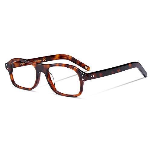 EyeGlow Kingsman, montatura per occhiali da uomo, vintage, lenti trasparenti opzionali Tortoise Medium