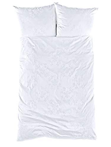 Curt Bauer Mako-Brokat-Damast Bettwäsche Josephine Weiss 1 Bettbezug 135x200 cm + 1 Kissenbezug 80x80 cm