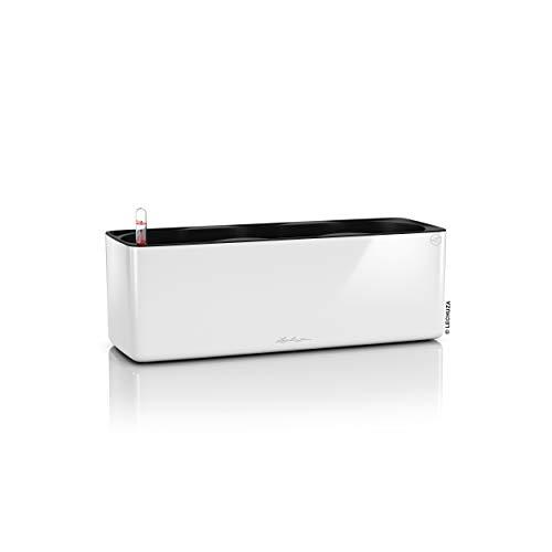 LECHUZA CUBE Glossy Triple, Weiß, Lackierte Oberfläche, Hochwertiger Kunststoff, Inkl. Balkonkastenhalterung und Stick-Bewässerungssystem, Für Innenbereich, 13670