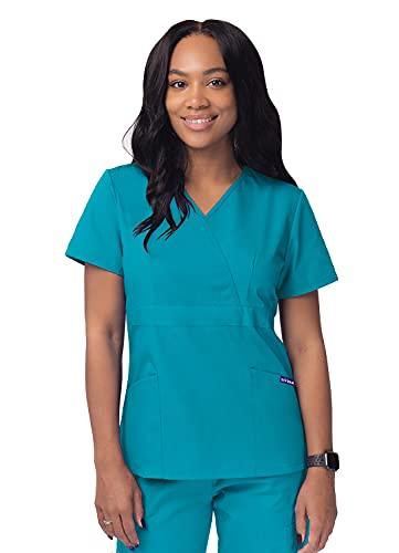 Sivvan Women's Scrubs Mock Wrap Top - S8302 - Teal Blue - L