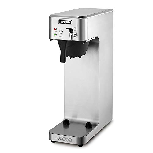Waring Commercial WCM70PAP Café Deco Automatic Airpot Coffee Brewer, Stainless Steel Construction, Hot water faucet, Plumbed, 120V, 5-15 Phase Plug