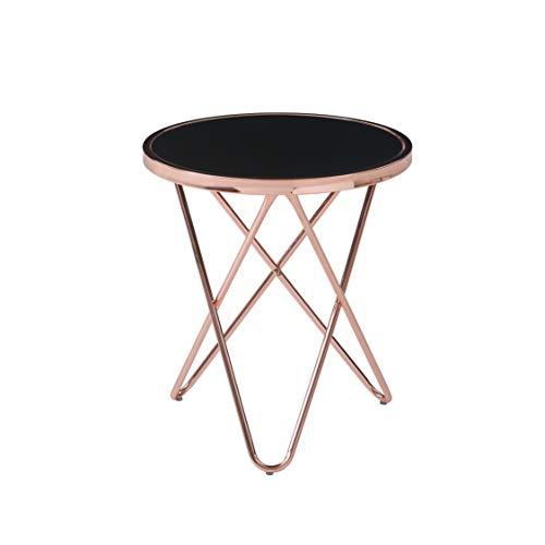 Cooper salontafel, bijzettafel, salontafel, koper en glas, zwart, 45 x 45 x 50 cm